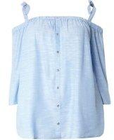 Dorothy Perkins Womens DP Curve Plus Size Blue Chambray Bardot Top- Blue