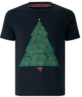 John Lewis Organic Cotton Christmas Tree T-shirt, Navy Marl