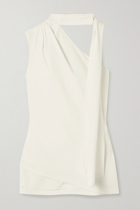 Halston Tie-neck One-shoulder Crepe Top - Ivory