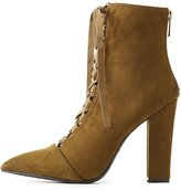 Charlotte Russe Bamboo Pointed Toe Lace-Up Booties