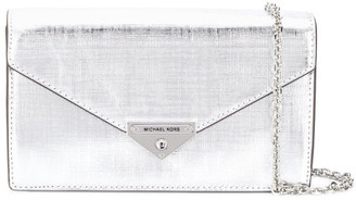 MICHAEL Michael Kors Loulou Leather Metallic Clutch