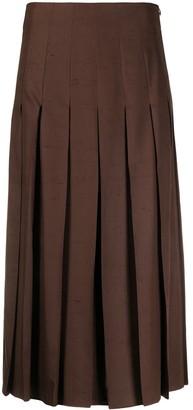 Agnona Box-Pleat Midi Skirt
