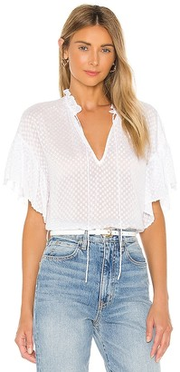 Alice + Olivia Julius Short Ruffle Sleeve Tunic Top