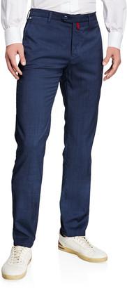 Kiton Men's Slim-Straight Flat-Front Wool Pants