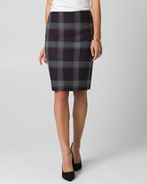 Le Château Check Print Viscose Blend Pencil Skirt