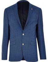 River Island MensBlue textured slim suit jacket