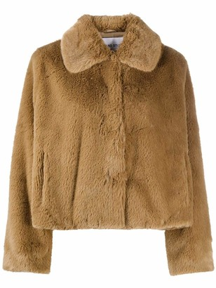 Stand Studio Marcella Crop Faux Fur Collar Jacket