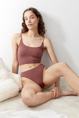 Out From Under Markie Seamless Ribbed Knickers - Brown S at Urban Outfitters