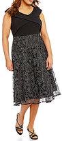 Alex Evenings Plus Surplice V-Neck Embroidered T-Length Dress