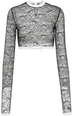 Miu Miu Floral Lace Cropped Top