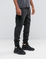 Black Kaviar Biker Cargo Pants In Wool With Elasticated Cuffs