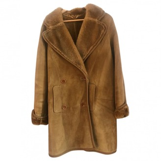 Loewe Camel Shearling Coat for Women Vintage