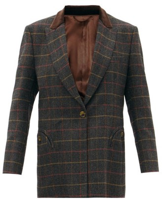 BLAZÉ MILANO Mondange Single-breasted Checked Wool Blazer - Grey Multi