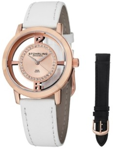 Stuhrling Original Stainless Steel Rose Tone Case on White Genuine Leather Interchangable Strap With Additional Black Leather Strap, Rose Tone Dial, With Silver Tone and Swarovski Crystal Accents