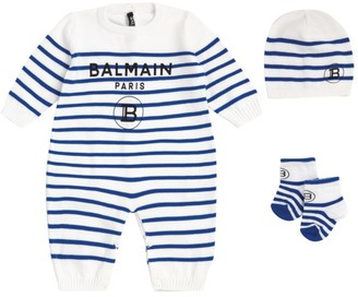 Balmain Kids Stripe Playsuit, Hat and Booties Set