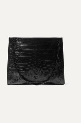 Saint Laurent Niki Large Croc-effect Leather Tote - Black