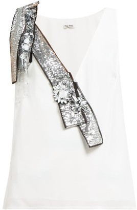 Miu Miu Crystal And Sequin-embellished Crepe Top - Womens - White