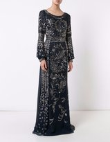 J. Mendel Deep Marine Silk Chiffon Embroidered Foliage Embroidered Gown