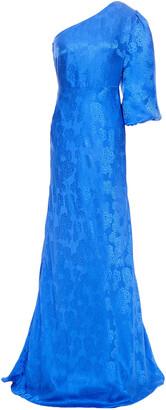 Saloni Lily One-shoulder Silk-satin Jacquard Gown