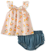 Kate Spade Sleeveless Voile Orangerie Top W/ Chambray Ruffle Bloomers, Multicolor, Size 12-24 Months