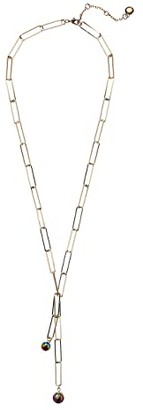 BCBGeneration Y-Neck Pearl Link Necklace (12K Gold/Pearl) Necklace
