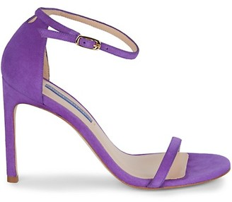 Stuart Weitzman Nudistong Suede Ankle-Strap Sandals