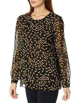 Anne Klein Women's Long Sleeve Double Layer Blouse