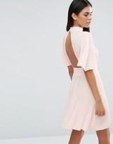 Love Pleated Kimono Sleeve Dress With Choker Neck