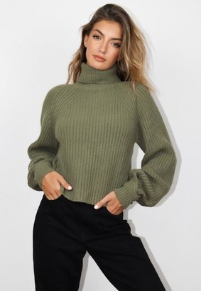 Missguided Tall Khaki Tuck Sleeve Cropped Turtle Neck Sweater