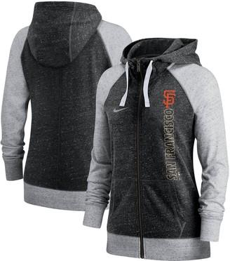 Nike Women's Black San Francisco Giants In Pocket Gym Vintage Full-Zip Hoodie