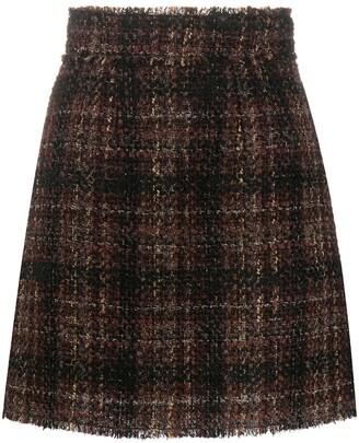 Dolce & Gabbana Checked Tweed Skirt