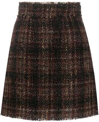 Dolce & Gabbana Tartan Tweed Short Skirt