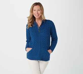 Aran Craft Merino Wool Zip-Front Cardigan