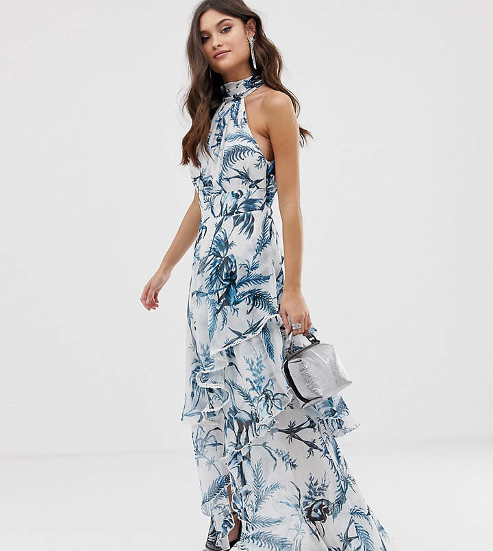 Asos Design DESIGN high neck maxi dress in crinkle chiffon palm print