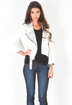 Simone White Leather Jacket with Gunmetal Studs - by