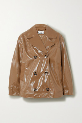 Ganni Double-breasted Faux Patent-leather Jacket - Sand