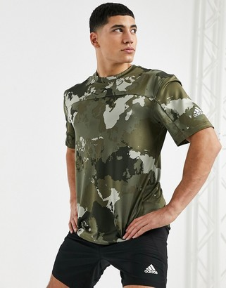 adidas Training camo T-shirt in green