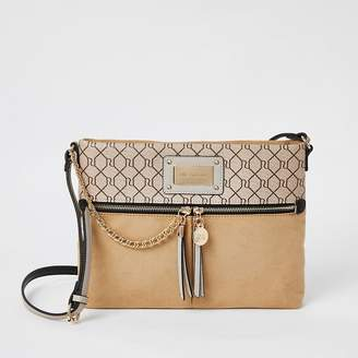 River Island Beige RI zip front cross body messenger bag