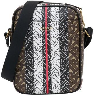 Burberry Monogram Stripe Print E-Canvas Crossbody Bag
