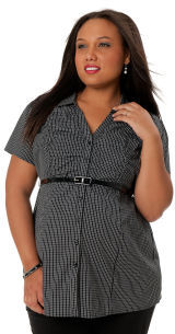 Motherhood Plus Size Short Sleeve Shirt Collar Button Front Maternity Blouse
