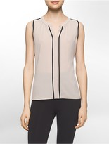 Calvin Klein Contrasting Trim V-Neck Sleeveless Top