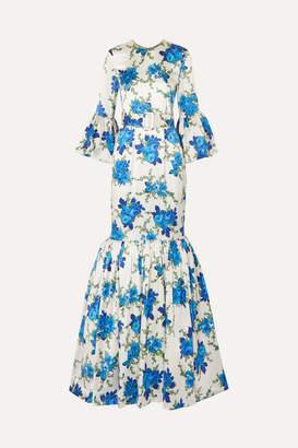 Rebecca De Ravenel Patio Belted Ruffled Floral-print Silk-blend Twill Maxi Dress - Blue