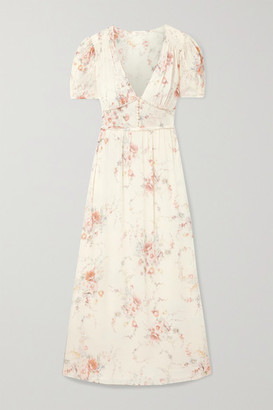 LoveShackFancy Ariel Floral-print Silk-georgette Maxi Dress - Ivory