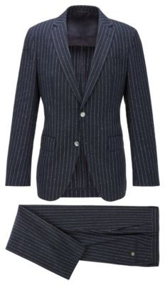 HUGO BOSS Pinstripe Slim Fit Suit With Mother Of Pearl Buttons - Dark Blue