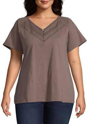 ST. JOHN'S BAY Plus Womens Y Neck Short Sleeve Henley Shirt