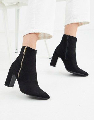 New Look pointed block heeled boot in black