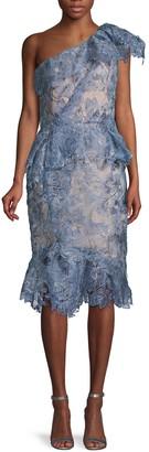 Marchesa One-Shoulder Lace Dress