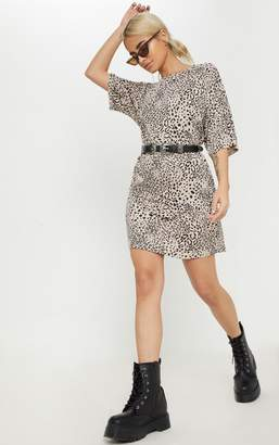 PrettyLittleThing Petite Leopard Print Oversized T Shirt Dress