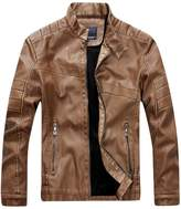 URBANFIND Men's Regular Fit Faux Leather Vintage Solid Motorcycle Jacket