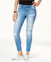 Rampage Juniors' Sophie Ripped Sequin-Trim Skinny Ankle Jeans